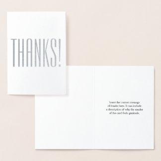 "Elegant Silver Foil ""THANKS!"" Card"