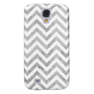 Elegant Silver Foil Zigzag Stripes Chevron Pattern