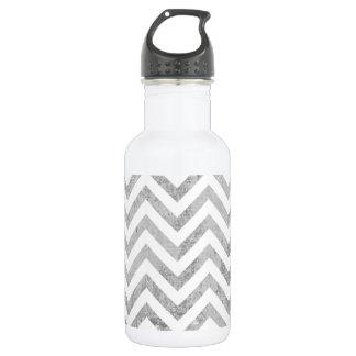 Elegant Silver Foil Zigzag Stripes Chevron Pattern 532 Ml Water Bottle