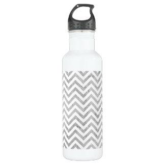 Elegant Silver Foil Zigzag Stripes Chevron Pattern 710 Ml Water Bottle