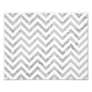 Elegant Silver Foil Zigzag Stripes Chevron Pattern Art Photo