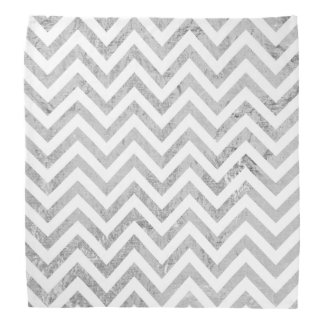 Elegant Silver Foil Zigzag Stripes Chevron Pattern Bandanas
