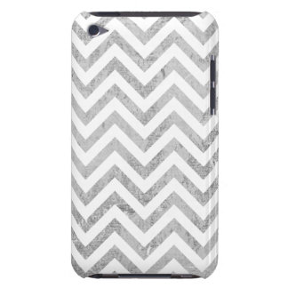 Elegant Silver Foil Zigzag Stripes Chevron Pattern Barely There iPod Covers