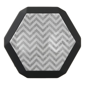 Elegant Silver Foil Zigzag Stripes Chevron Pattern Black Bluetooth Speaker