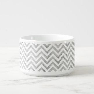 Elegant Silver Foil Zigzag Stripes Chevron Pattern Bowl
