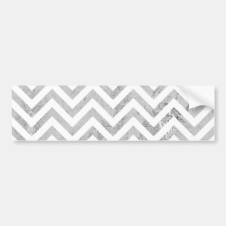 Elegant Silver Foil Zigzag Stripes Chevron Pattern Bumper Sticker