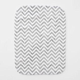 Elegant Silver Foil Zigzag Stripes Chevron Pattern Burp Cloth