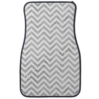 Elegant Silver Foil Zigzag Stripes Chevron Pattern Car Floor Carpet