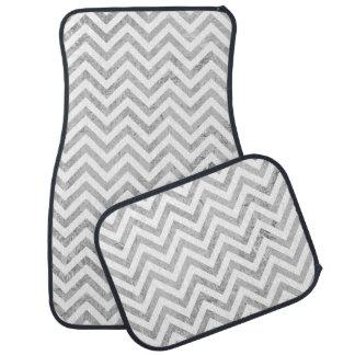 Elegant Silver Foil Zigzag Stripes Chevron Pattern Car Liners