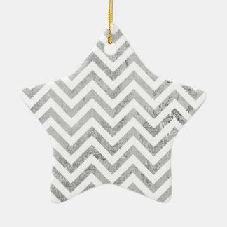 Elegant Silver Foil Zigzag Stripes Chevron Pattern Ceramic Star Ornament