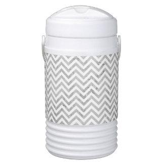 Elegant Silver Foil Zigzag Stripes Chevron Pattern Cooler