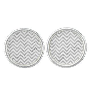 Elegant Silver Foil Zigzag Stripes Chevron Pattern Cuff Links