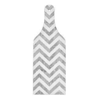 Elegant Silver Foil Zigzag Stripes Chevron Pattern Cutting Board