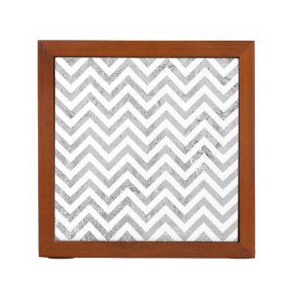 Elegant Silver Foil Zigzag Stripes Chevron Pattern Desk Organizer
