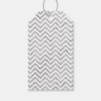Elegant Silver Foil Zigzag Stripes Chevron Pattern Gift Tags