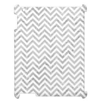 Elegant Silver Foil Zigzag Stripes Chevron Pattern iPad Covers