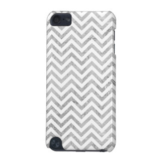 Elegant Silver Foil Zigzag Stripes Chevron Pattern iPod Touch 5G Cover