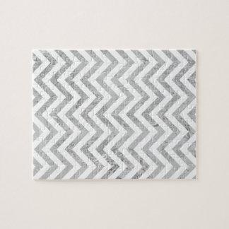 Elegant Silver Foil Zigzag Stripes Chevron Pattern Jigsaw Puzzle