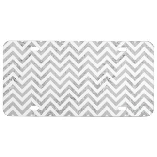 Elegant Silver Foil Zigzag Stripes Chevron Pattern License Plate