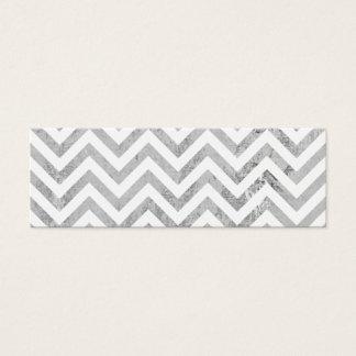 Elegant Silver Foil Zigzag Stripes Chevron Pattern Mini Business Card