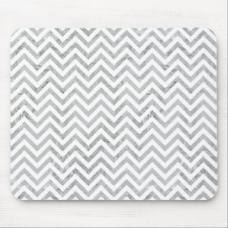 Elegant Silver Foil Zigzag Stripes Chevron Pattern Mouse Pad
