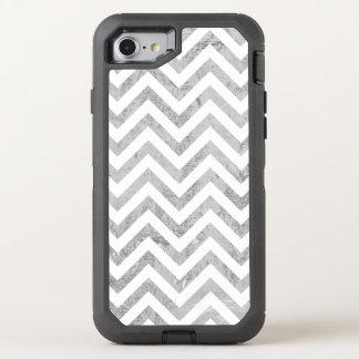 Elegant Silver Foil Zigzag Stripes Chevron Pattern OtterBox Defender iPhone 7 Case