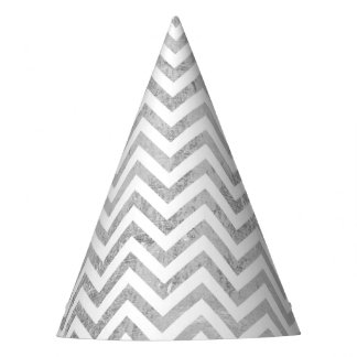 Elegant Silver Foil Zigzag Stripes Chevron Pattern Party Hat