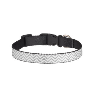 Elegant Silver Foil Zigzag Stripes Chevron Pattern Pet Collar