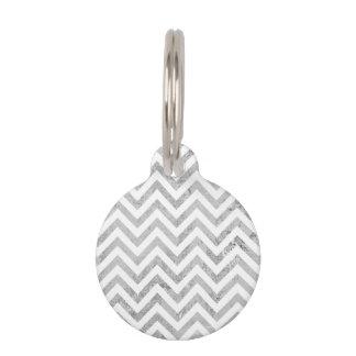 Elegant Silver Foil Zigzag Stripes Chevron Pattern Pet ID Tag