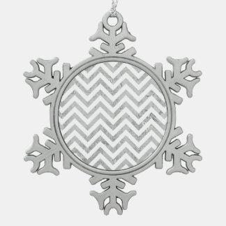 Elegant Silver Foil Zigzag Stripes Chevron Pattern Pewter Snowflake Ornament