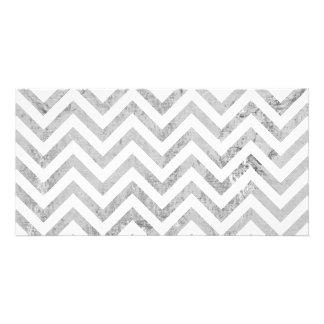 Elegant Silver Foil Zigzag Stripes Chevron Pattern Picture Card