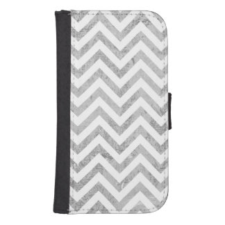 Elegant Silver Foil Zigzag Stripes Chevron Pattern Samsung S4 Wallet Case
