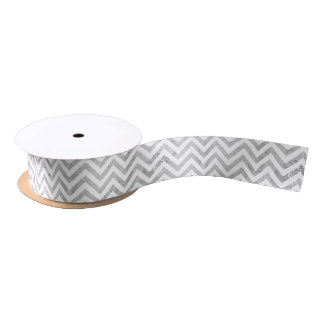 Elegant Silver Foil Zigzag Stripes Chevron Pattern Satin Ribbon