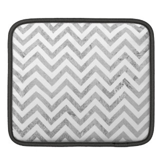Elegant Silver Foil Zigzag Stripes Chevron Pattern Sleeve For iPads