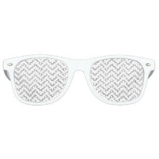 Elegant Silver Foil Zigzag Stripes Chevron Pattern Sunglasses