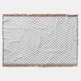 Elegant Silver Foil Zigzag Stripes Chevron Pattern Throw Blanket