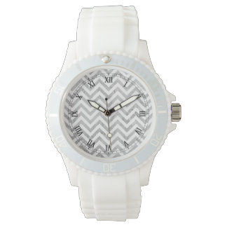 Elegant Silver Foil Zigzag Stripes Chevron Pattern Watch