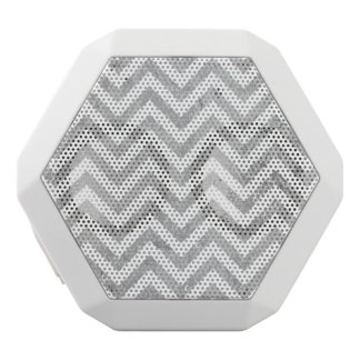 Elegant Silver Foil Zigzag Stripes Chevron Pattern White Bluetooth Speaker