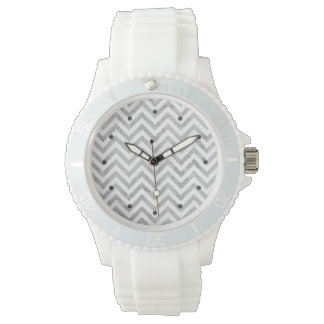 Elegant Silver Foil Zigzag Stripes Chevron Pattern Wristwatch