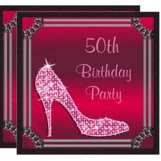 "Elegant Silver Framed Pink Stiletto 50th Birthday 5.25"" Square Invitation Card"