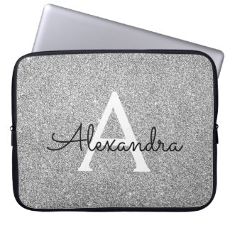 Elegant Silver Glitter and Sparkle Monogram Laptop Sleeve