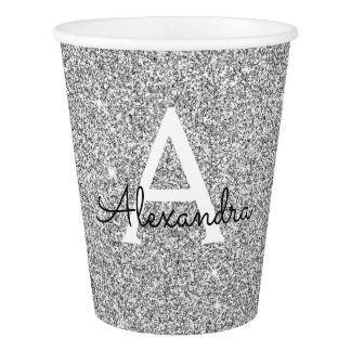 Elegant Silver Glitter and Sparkle Monogram Paper Cup