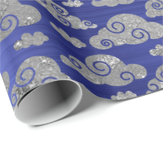Elegant Silver Glitter Clouds Cobalt Blue French Wrapping Paper