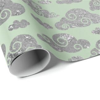 Elegant Silver Glitter Clouds Mint Green Metallic