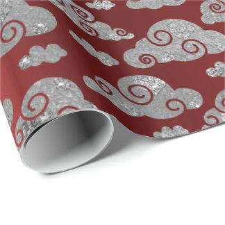 Elegant Silver Glitter Clouds Red Wine Ruby Metal Wrapping Paper