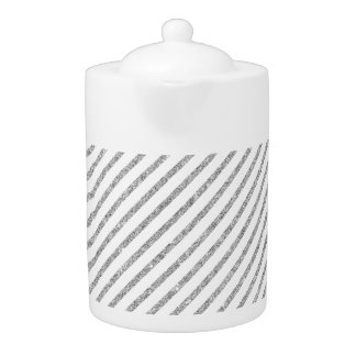 Elegant Silver Glitter Diagonal Stripes Pattern