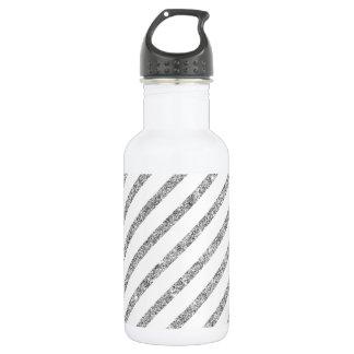 Elegant Silver Glitter Diagonal Stripes Pattern 532 Ml Water Bottle