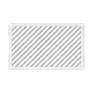 Elegant Silver Glitter Diagonal Stripes Pattern Acrylic Tray
