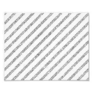 Elegant Silver Glitter Diagonal Stripes Pattern Art Photo