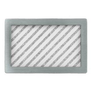 Elegant Silver Glitter Diagonal Stripes Pattern Belt Buckle
